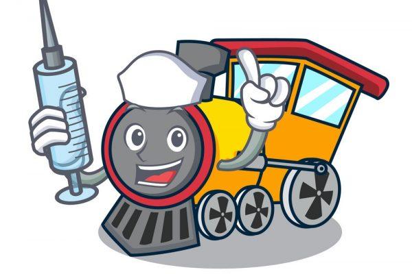 Nurse train character cartoon style vector illustration